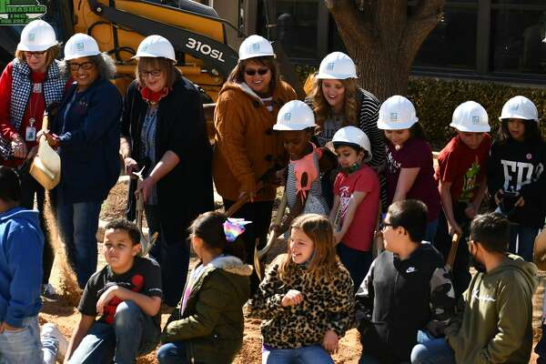 Plainview ISD district leaders, city leaders, community business leaders, College Hill students and staff gather Friday, Feb. 26, to break ground on the new College Hill campus.