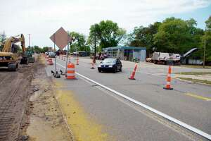 This file photo shows some of the previous road work in action along U.S. 31 in Manistee. The new Michigan Department of Transportation five-year plan shows one U.S. 31 project slated for Manistee. (File photo)