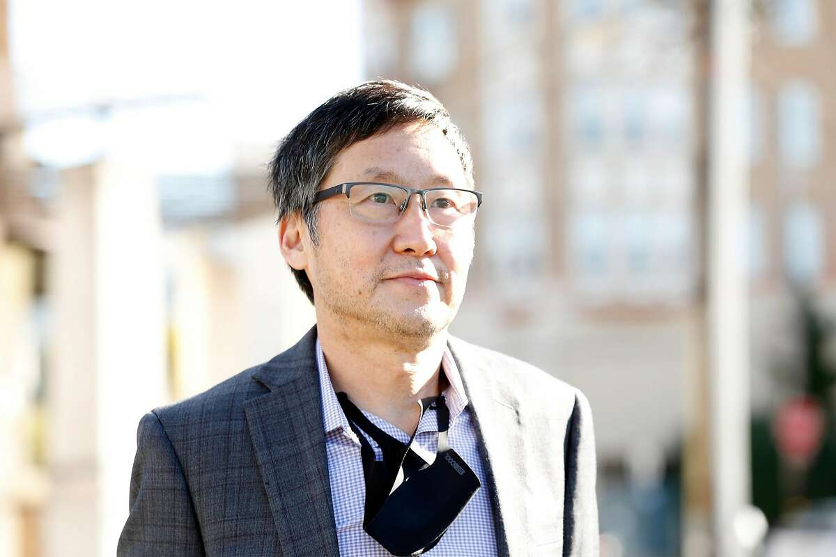 Supervisor Gordon Mar at The Police Credit Union at 2550 Irving Street in the Sunset District of San Francisco, Calif., on Thursday, January 14, 2021. The site has been proposed as a location for a 7-story affordable housing project