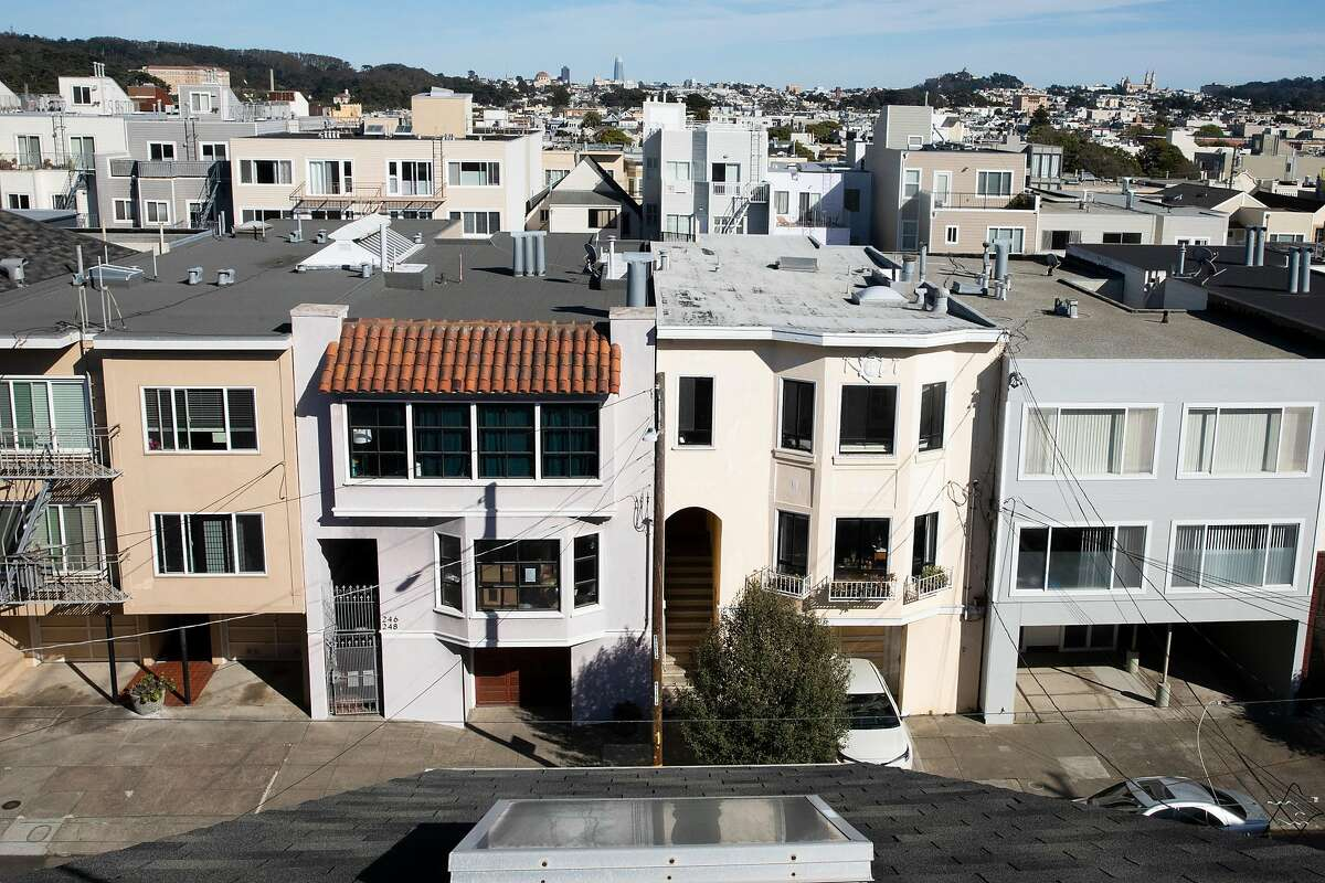 The view from the rooftop deck of 247 27th Avenue in San Francisco, Calif. Thursday, February 25, 2021. There is currently a movement across the Bay Area to end exclusionary single-family zoning by allowing four-plexes on lots currently restricted to single family homes. The building at 247 27th Avenue is a four-plex on a single-family lot.