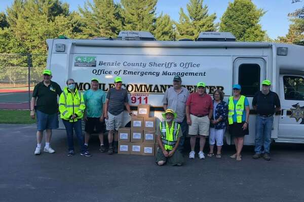 Members of the Manistee County CERT (Community Emergency Response Team) helped out at the drive-thru COVID-19 testing sites last summer. (Courtesy photo)