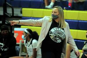 Notre Dame of Fairfield coach Maria Conlon is seen during the girls basketball game against Kolbe Cathedral in Fairfield on Tuesday.