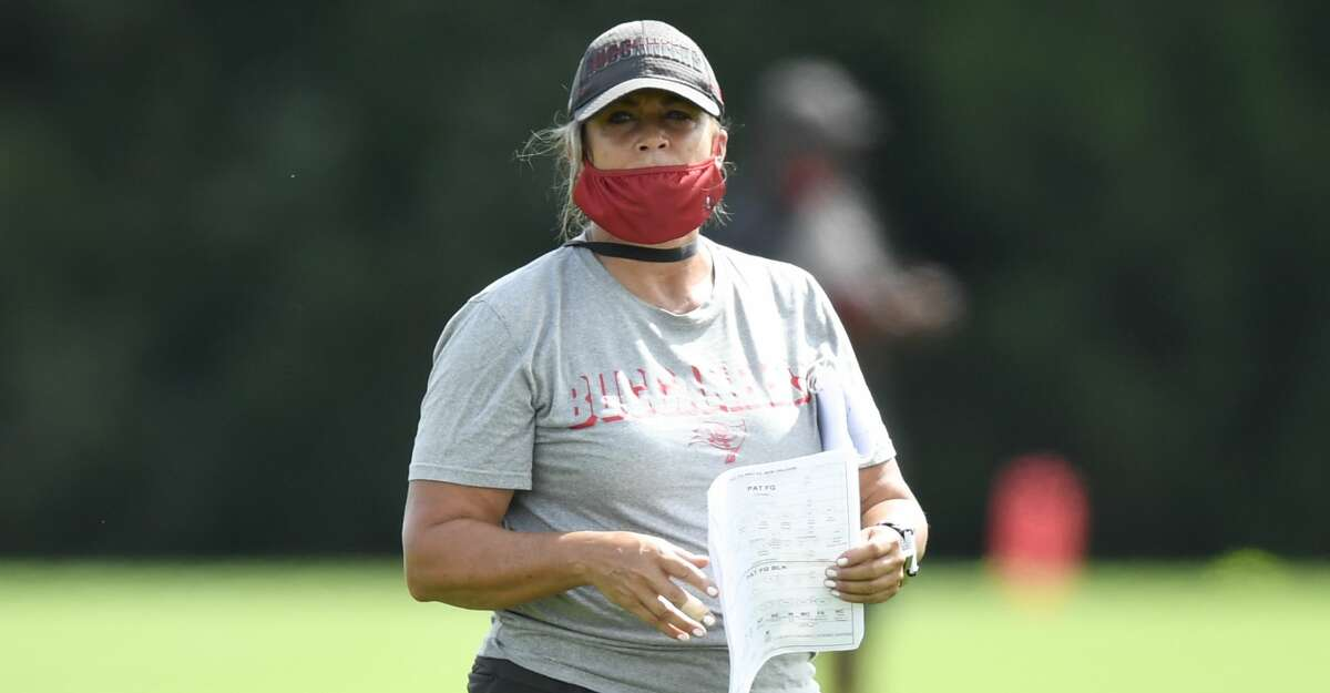 Assistant defensive line coach Lori Locust of the Tampa Bay Buccaneers looks on during training camp at AdventHealth Training Center on September 09, 2020 in Tampa, Florida. (Photo by Douglas P. DeFelice/Getty Images)