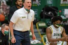 Siena College coach Carm Maciariello directs his team against Manhattan College during a Metro Atlantic Athletic Conference game at the UHY Center on the Siena campus in Loudonville, NY, on Friday, Feb. 26, 2021 (Jim Franco/special to the Times Union.)