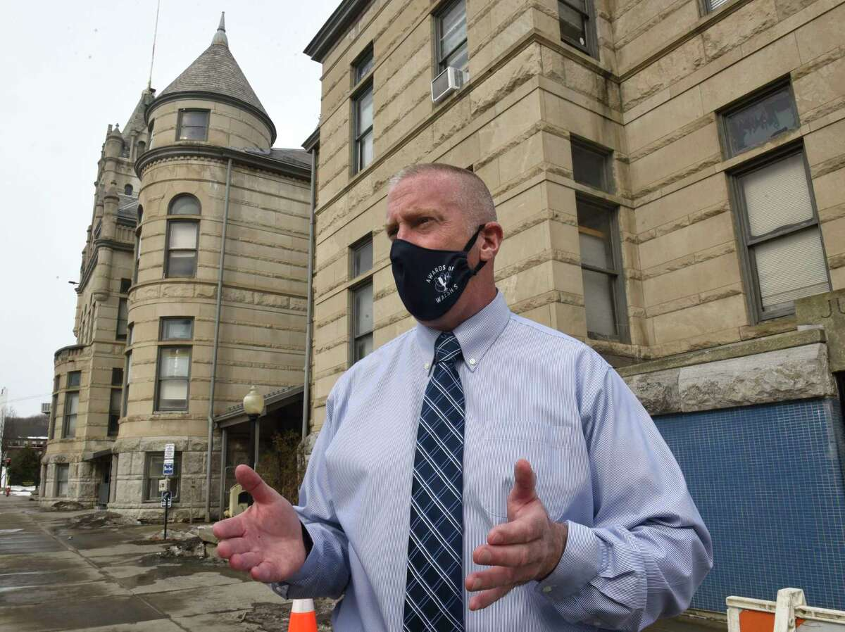 Cohoes Mayor William Keeler talks about replacing 330 window in Cohoes City Hall on Wednesday, Feb. 24, 2021 in Cohoes, N.Y. Some that let in rain and snow and let heat out. (Lori Van Buren/Times Union)