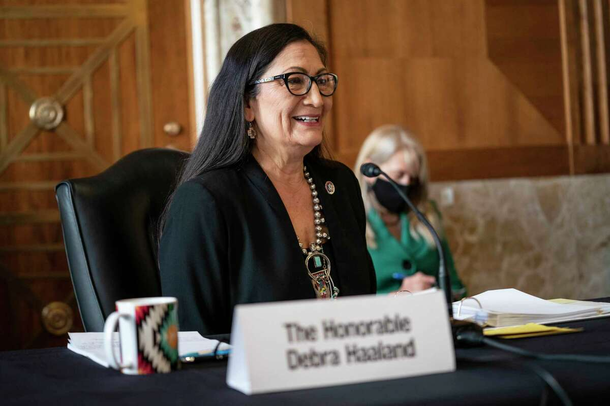 WASHINGTON, DC - FEBRUARY 24: Rep. Deb Haaland (D-NM), nominee for Secretary of the Interior, testifies at her confirmation hearing before the Senate Energy and Natural Resources Committee February 24, 2021 on Capitol Hill in Washington, DC. Rep. Haaland's opposition to fracking and early endorsement of the Green New Deal have made her one of President Biden's more controversial cabinet nominees. (Photo by Sarah Silbiger-Pool/Getty Images)