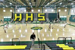 The Hamden High School gymnasium will be the where the town will begin mass vaccinations of school employees.