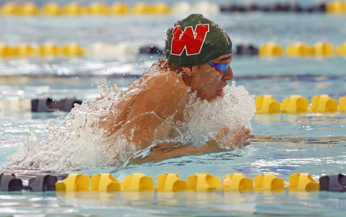 The Woodlands Bonilla Flores in the boys 200 yard freestyle Relay. UIL Boys 6A swimming finals on Friday, Feb. 26, 2021 at Josh Davis Natatorium