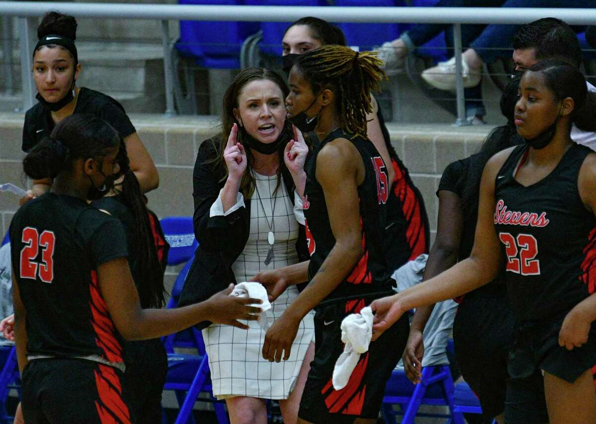 Stevens basketball coach Kathleen Moroney speaks to her team during a timeout of the Regional Semifinal at Northside Gym on Friday, Feb. 26, 2021.