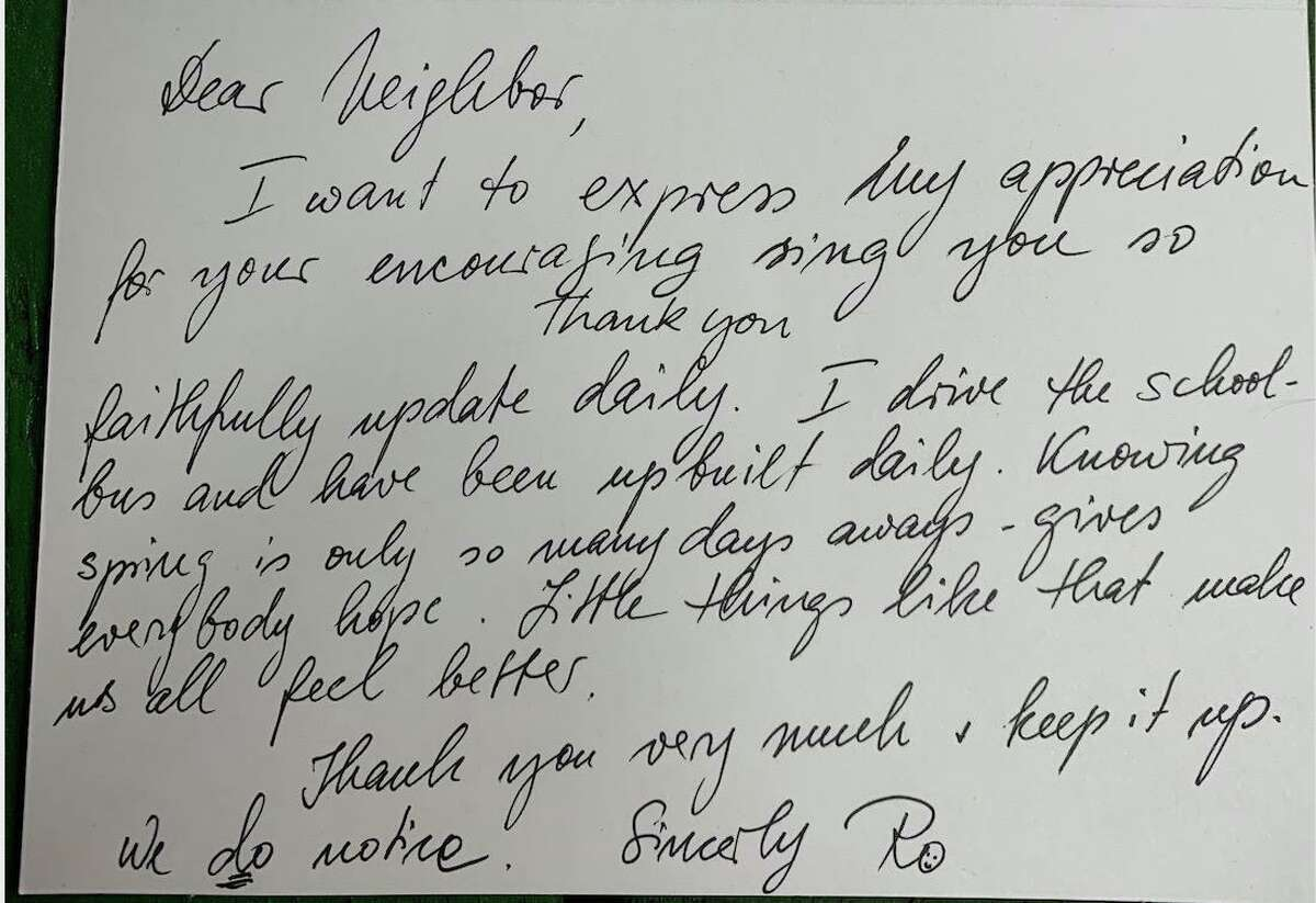A letter received by Joe Haberny from a fan of the sign.