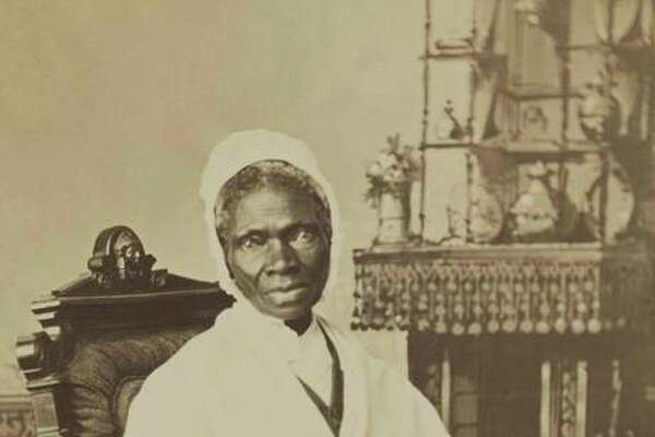 Sojourner Truth is pictured, circa 1870. An ex-slave, she preached against the cruelties of slavery and for human rights for African Americans and women. She lived in Battle Creek, Michigan.