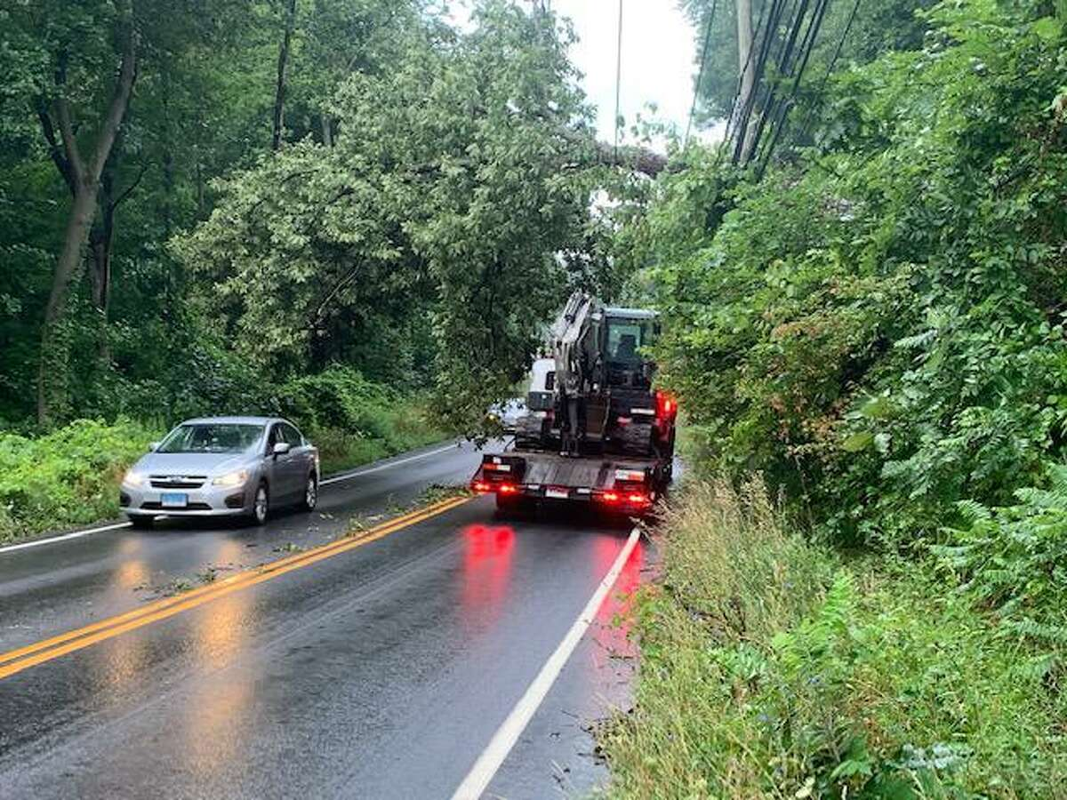 Tree and wires down on Route 37 in New Fairfield following Tropical Storm Isaias.