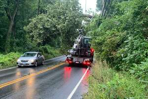 Tree and wires down on Route 37 in New Fairfield, Conn., following Tropical Storm Isaias.