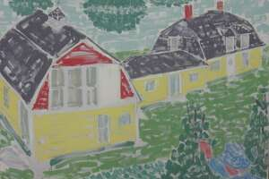 Maine House from Garden, 92-7, 1992, oil on canvas, Stephen Pace