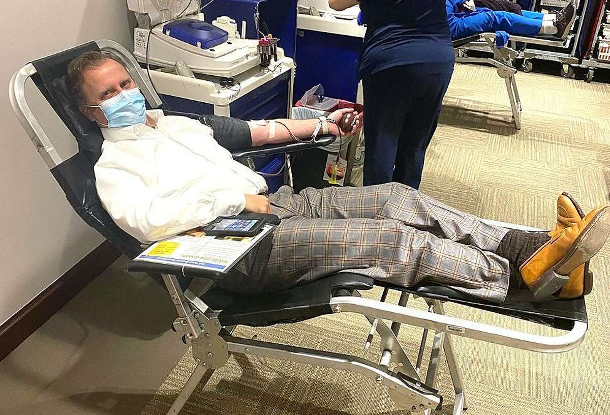 Jim Brown, CEO at HCA Houston Healthcare North Cypress leads by example by donating blood on Wednesday, Feb. 24. The hospital hosted an employee blood drive to help replenish the critically low blood supply levels that the Gulf Coast Regional Blood Center is experiencing due to the winter storm.