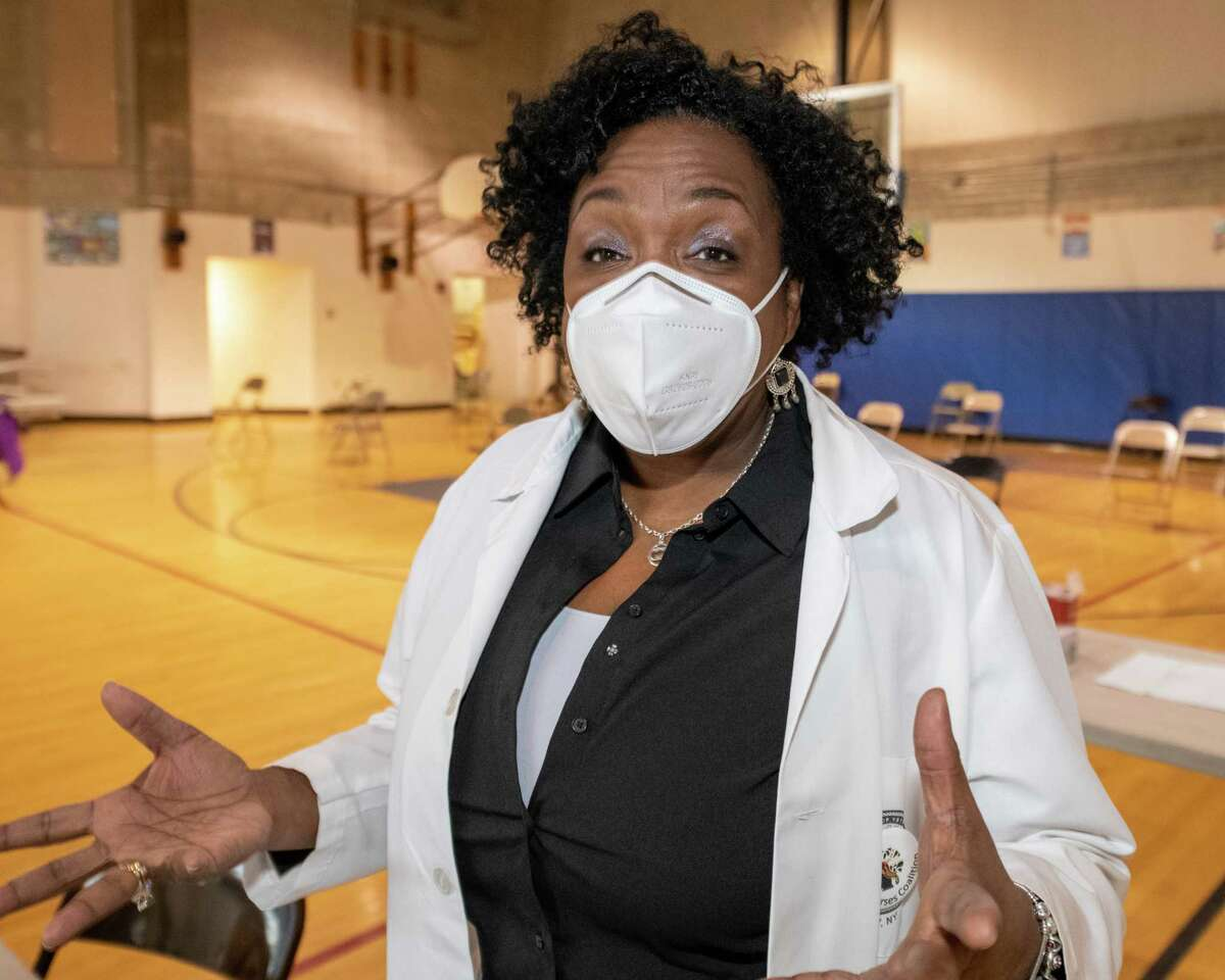 Dr. Brenda Robinson, founder and CEO of the Black Nurses Coalition, at a vaccination clinic at the Arbor Hill Elementary School in Albany, NY, on Saturday, Feb. 27, 2021 (Jim Franco/special to the Times Union.)