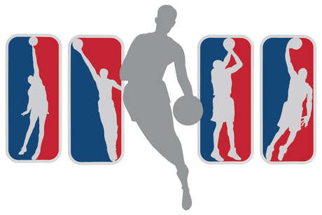 """Jerry West, center, is """"The Logo,"""" but here's how some other legends might look as the silhouette of the NBA, from left: Bill Russel, Wilt Chamberlain, Kobe Bryant and Michael Jordan."""