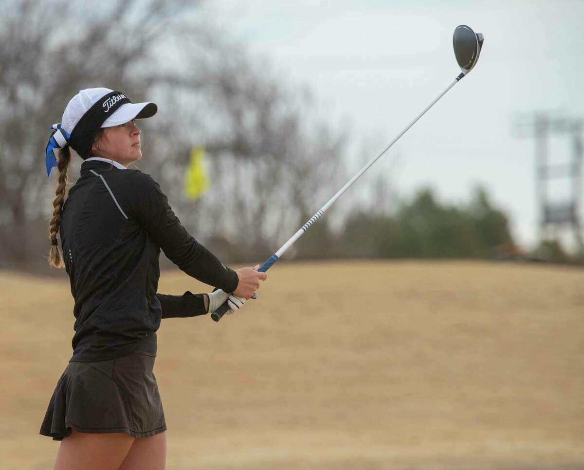 Trinity's Ali Escamilla followers her tee shot 02/27/2021 at Hogan Park Golf Course. Tim Fischer/Reporter-Telegram