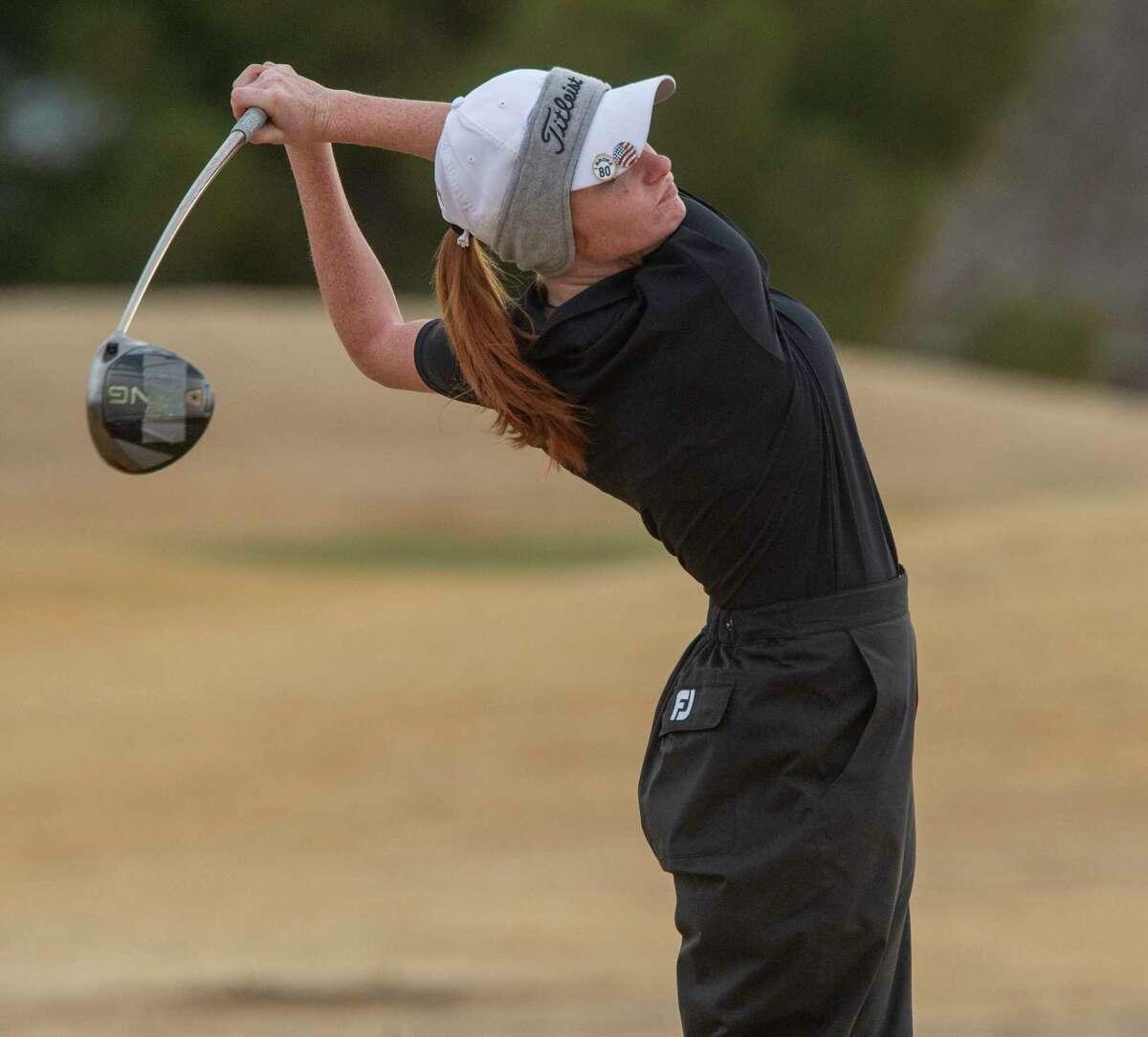 Andrews II's Kyleigh McGowen followers her tee shot 02/27/2021 at Hogan Park Golf Course. Tim Fischer/Reporter-Telegram