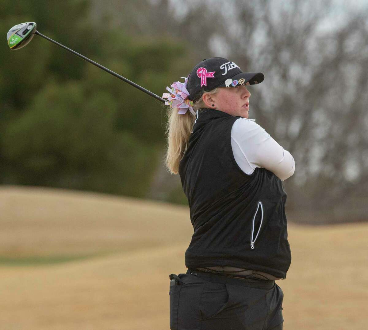Andrews I's Brynlee Dyas follows her tee shot 02/27/2021 at Hogan Park Golf Course. Tim Fischer/Reporter-Telegram