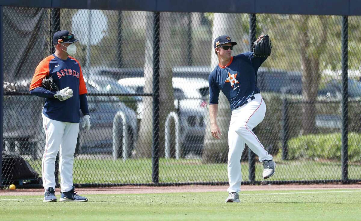 Houston Astros pitcher Zack Greinke preparing to participate in PFP's during spring training workouts for the Astros at Ballpark of the Palm Beaches in West Palm Beach, Florida, Saturday, February 27, 2021.