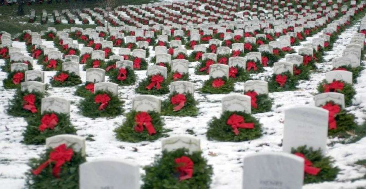 Christmas wreaths are on 3,100 gravesites at the Gerald B.H. Solomon Saratoga National Center in Schuylerville.