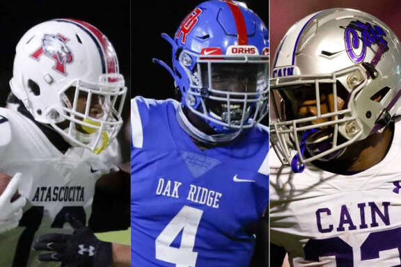 From left to right, Atascocita's Landen King, Oak Ridge's Alton McCaskill and Klein Cain's Jaydon Blue were among the Houston-area players selected to the TSWA Class 6A all-state football team.