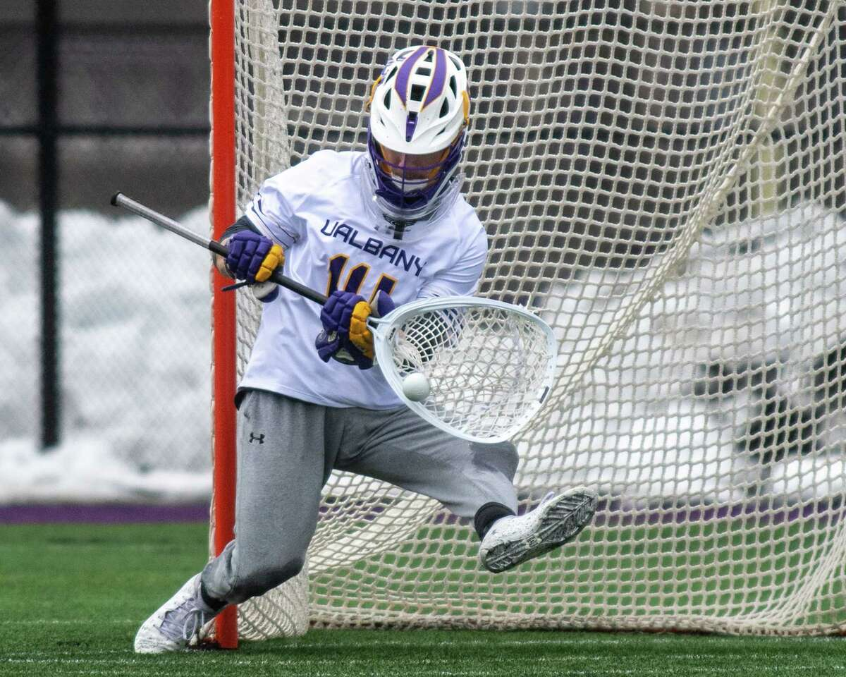 UAlbany graduate student Liam Donnelly, shown in a game against Colgate earlier this season, had 16 saves in a win over No. 13 UMass on March 23, 2021.(Jim Franco/special to the Times Union.)