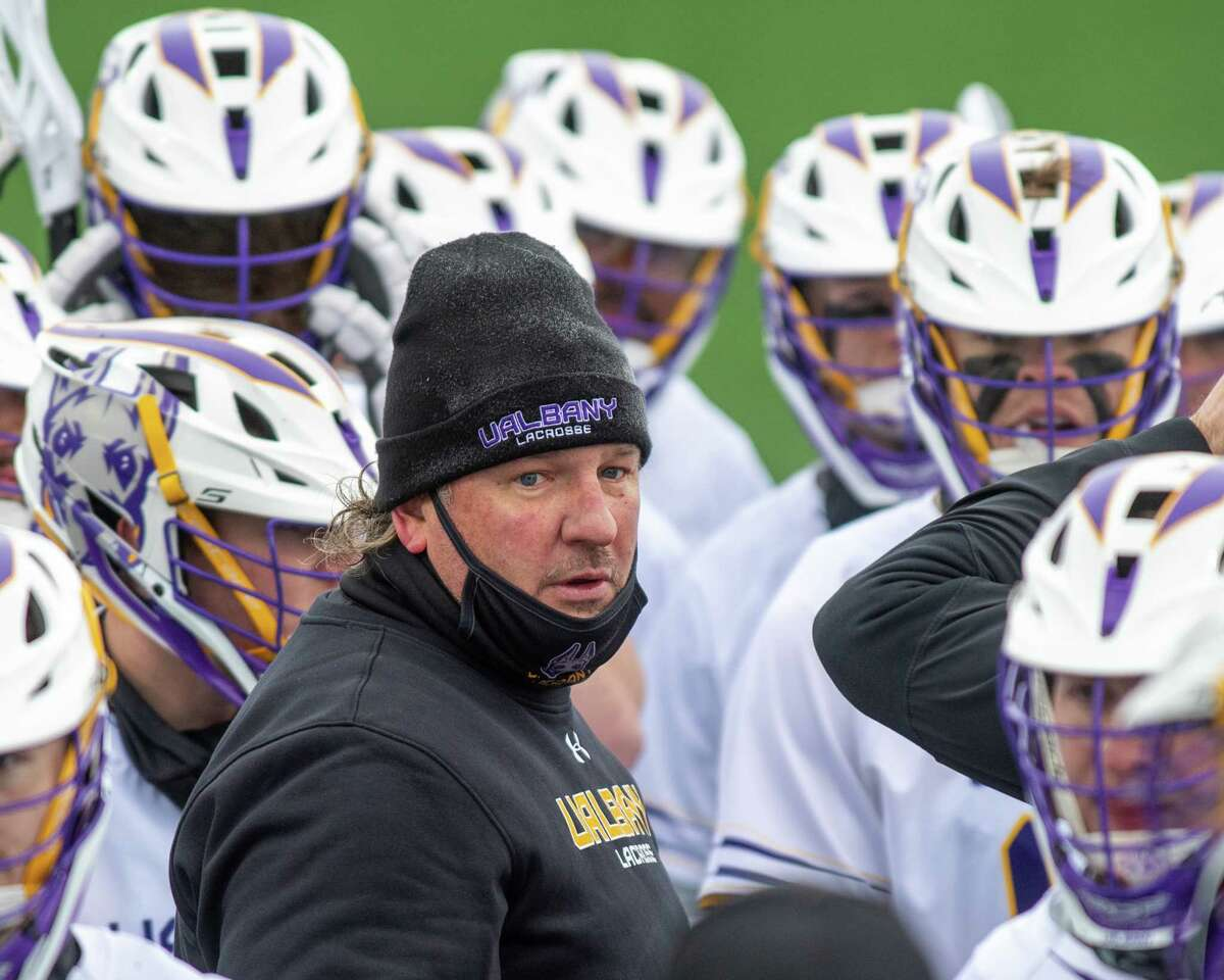 UAlbany head lacrosse coach Scott Marr talks to his team during the season opener against Colgate. Marr will have 11 players back who were out for the opener because of COVID-19 protocols. (Jim Franco/Special to the Times Union)