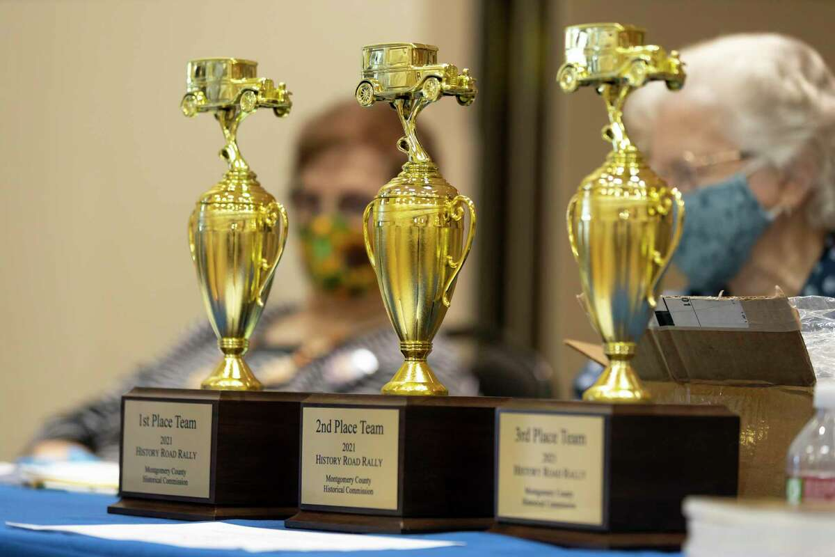 As seen, trophies are on display during the 8th Annual History Road Rally starting at the North Montgomery County Community Center, Saturday, Feb. 27, 2021, in Willis. Teams will collect clues across North Montgomery County and the first team to return to the community center with the correct answers within 2 hours wins.