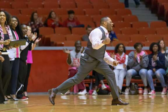 06 February 2016: Houston Cougars head coach Ronald Hughey during the NCAA Women's basketball game between the Tulane Green Wave and Houston Cougars at Hofheinz Pavilion in Houston, TX. (Photograph by Leslie Plaza Johnson/Icon Sportswire) (Photo by Leslie Plaza Johnson/Icon Sportswire/Corbis/Icon Sportswire via Getty Images)