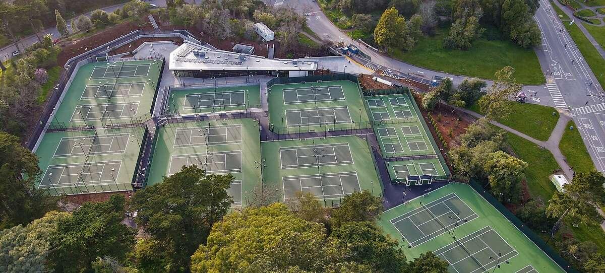 An aerial view of the new Lisa & Douglas Goldman Tennis Center in Golden Gate Park.