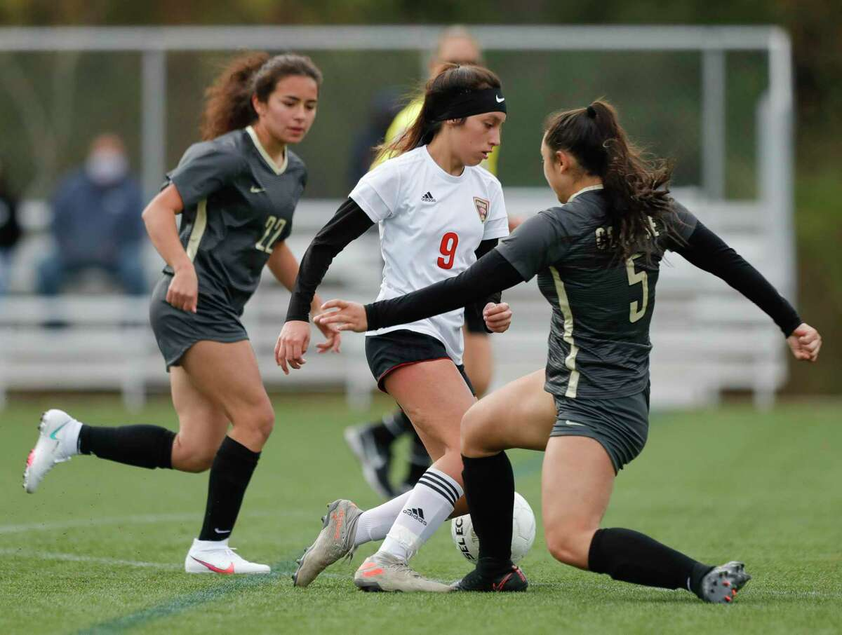 Caney Creek's Elyn Zamudio (9) , shown here in January against Conroe, scored a goal Saturday afternoon in a 4-3 win over Lake Creek.
