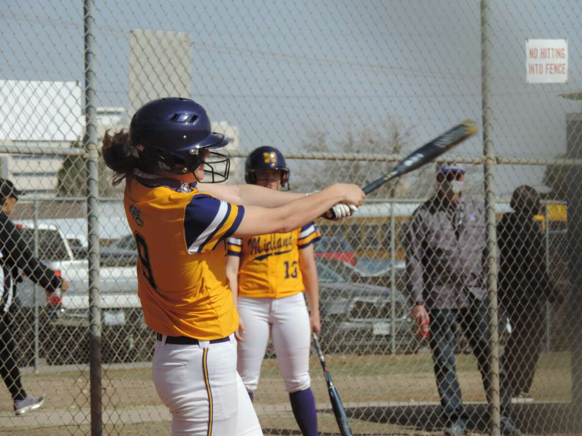 Midland High senior Bryleigh Morris takes a cut at a pitch against Lubbock High during a West Texas Classic softball game, Feb. 27 at Freddie Ezell Softball Complex.