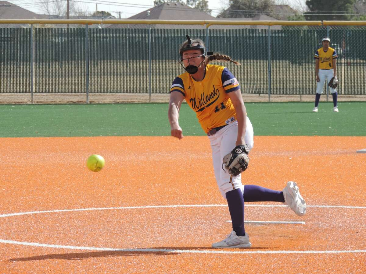 Midland High junior Alex Aguilardelivers a pitch against Lubbock High during a West Texas Classic softball game, Feb. 27 at Freddie Ezell Softball Complex.