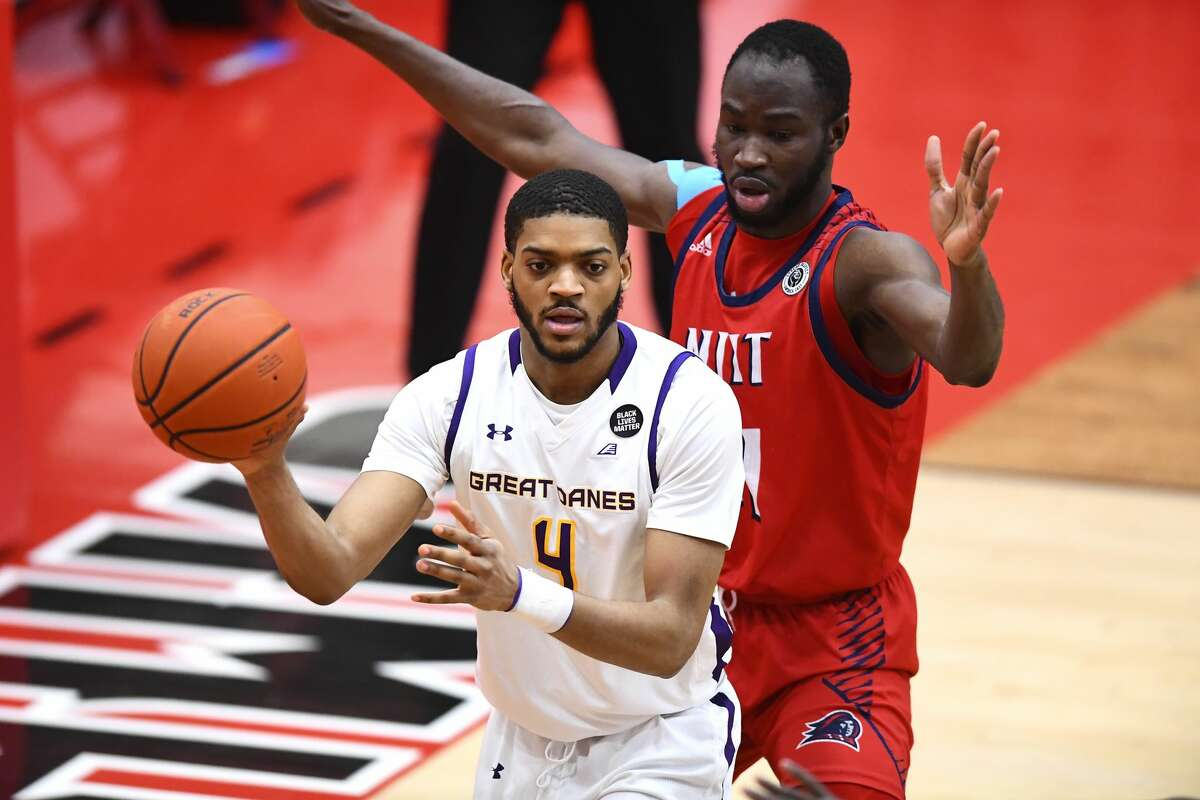 UAlbany forward Jarvis Doles works the low post against NJIT in an America East Tournament game Saturday, Feb. 27, 2021, in Hartford, Conn. Doles scored a team-high 21 points in the Danes' 76-66 victory. (Steve McLaughlin/Hartford Athletics)