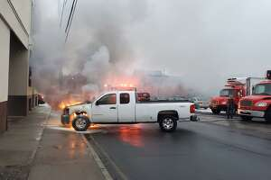 A truck caught fire inside the loading dock of Omaha Beef Saturday, Feb. 27.