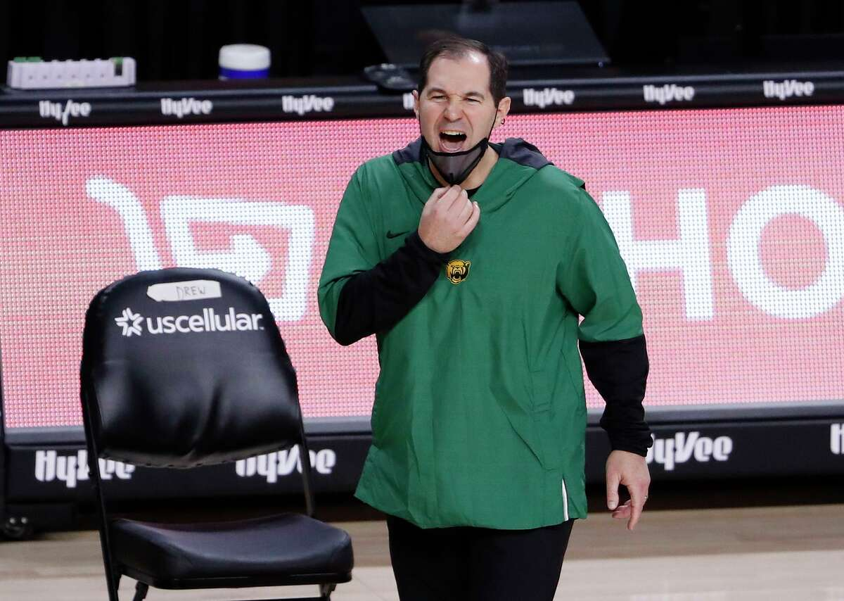 Baylor head coach Scott Drew on the sidelines against Iowa State on January 2, 2021, at Hilton Coliseum in Ames, Iowa. The Bears were back on the road on Tuesday, Feb. 2, 2021, thumping host Texas, 83-69. (David Purdy/Getty Images/TNS)