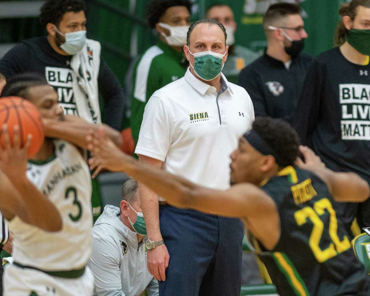 Siena College coach Carm Maciariello during a Metro Atlantic Athletic Conference game against Manhattan College at the UHY Center on the Siena campus this season. Maciariello signed a three-year contract extension on Wednesday. (Jim Franco/Special to the Times Union)