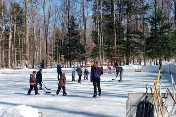 Scott Barker hosts a learn to play hockey event on his ice rink on Feb. 27. (Submitted photo)