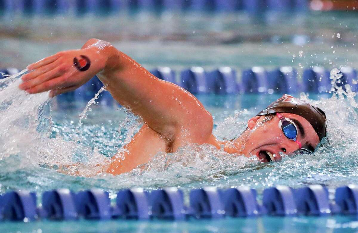 Gustavo Ott of Magnolia, shown here in January during the district meet, won silver in the 500-yard freestyle at the UIL Class 5A Swimming and Diving Championship in San Antonio.