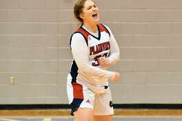 Kylie Bennett celebrates Plainview's 70-56 win over Wichita Falls Rider in the region semifinals of the Class 5A girls basketball playoffs on Saturday at Childress.