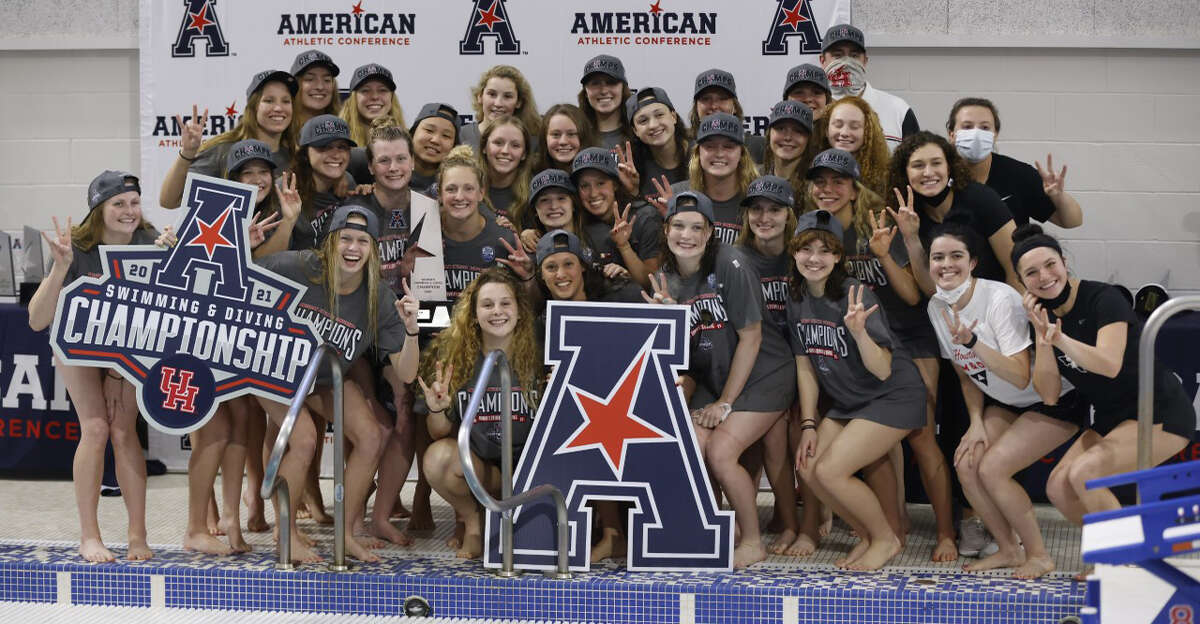 The UH women's swim team won its fifth straight conference title on Saturday night in Dallas.