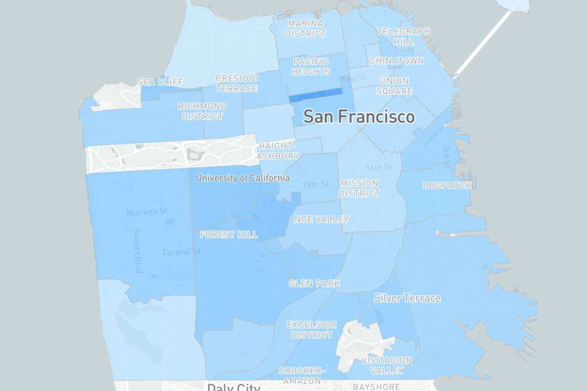San Francisco's updated vaccine tracker now includes a map and table showing the percentage of each neighborhood's residents that have received at least one shot.