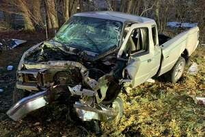 Shelton fire officials said this pickup truck was involved in an accident on Route 8 Friday, Feb. 26.