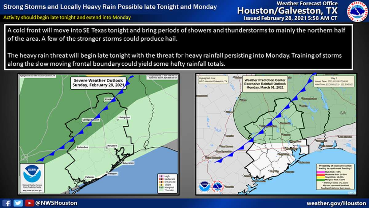 A cold front will bring a few strong storms tonight and the potential for heavy rain late tonight into Monday.