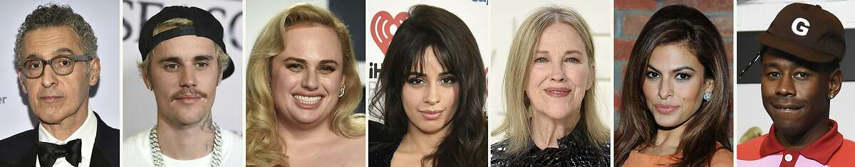 This combination photo of celebrities with birthdays from Feb. 28 - March 6 shows John Turturro, from left, Justin Bieber, Rebel Wilson, Camila Cabello, Catherine O'Hara, Eva Mendes and Tyler, the Creator. (AP Staff)