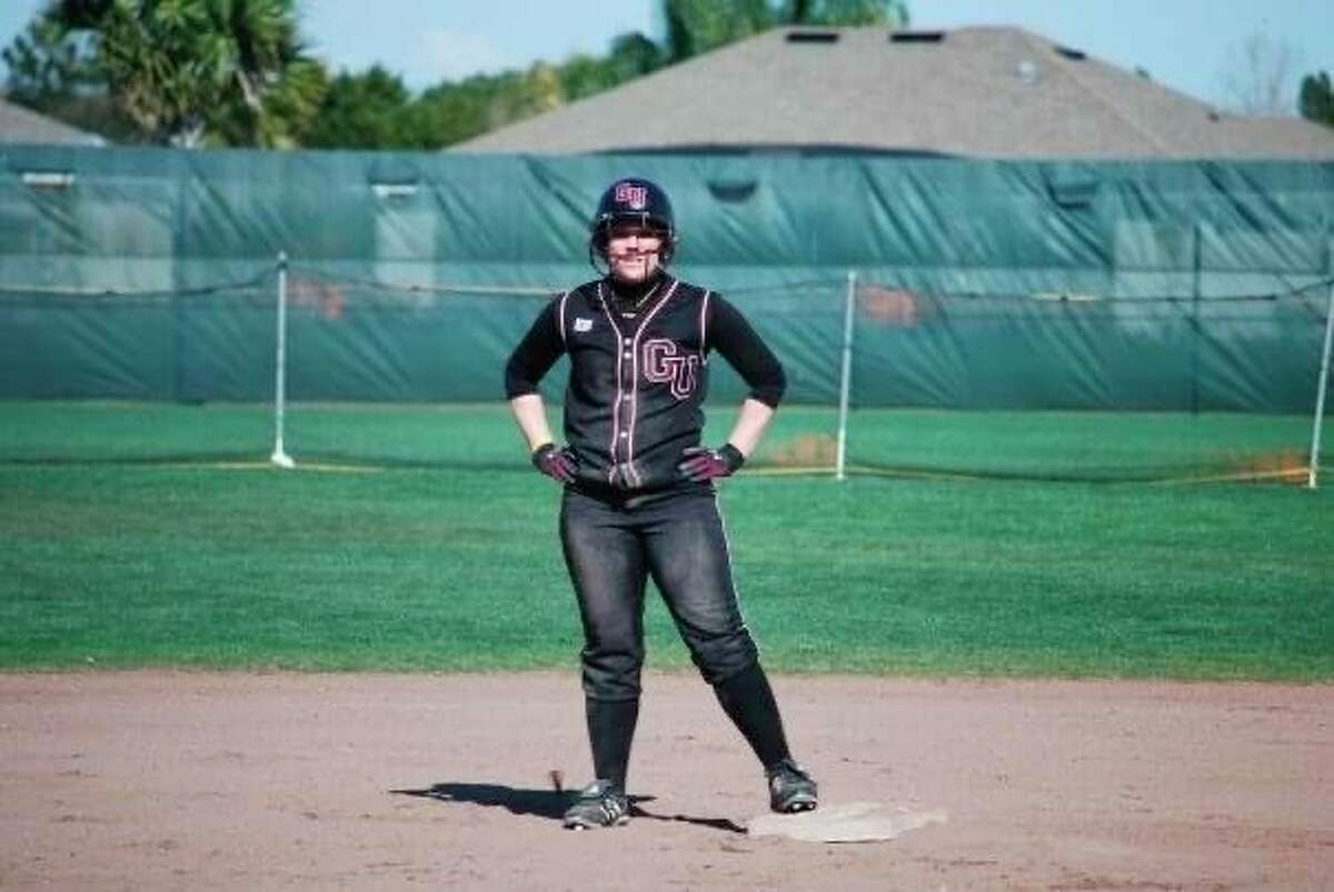 Ferris State softball coach Kristin Janes stands on base during her time as a student at Gannon University in Erie, Pennsylvania. (Photo courtesy/Kristin Janes)