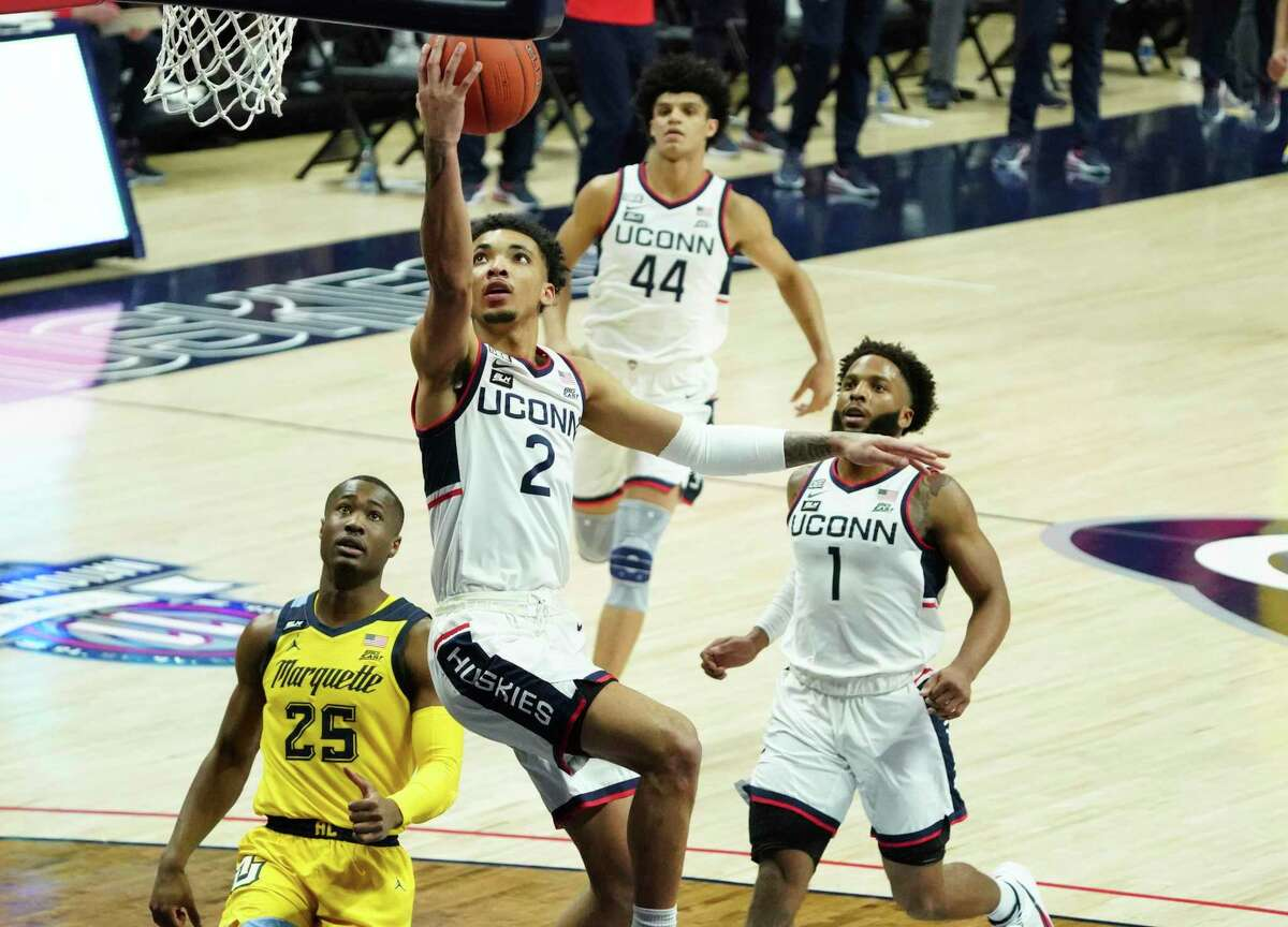 James Bouknight might be the best player in the Big East, but there's no guarantee he'll be a first-team all-conference selection on Sunday. (David Butler II/Pool Photo via AP)
