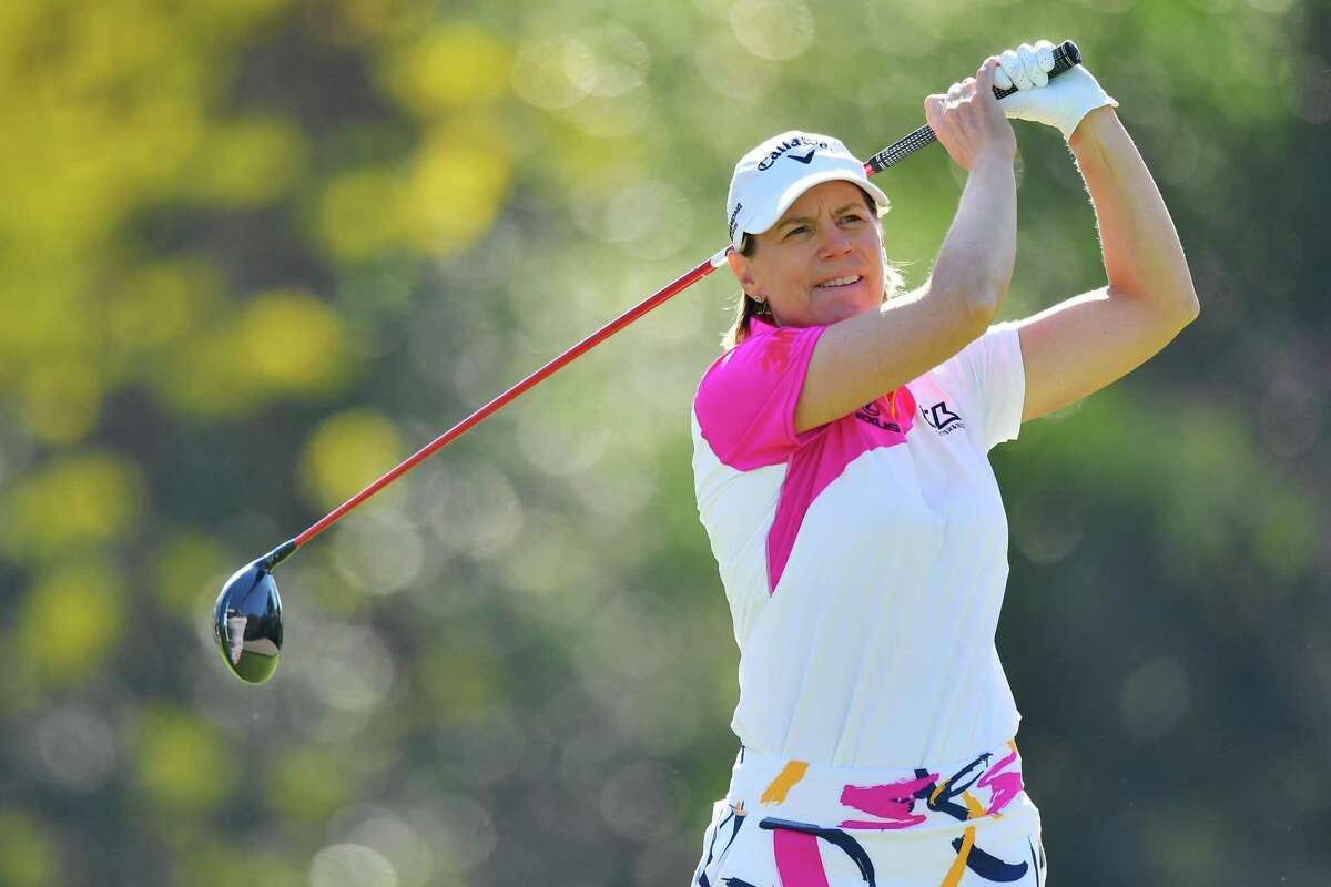 Annika Sorenstam of Sweden tees off on the 16th hole during round two of the Gainbridge LPGA at Lake Nona Golf and Country Club on February 26 in Orlando, Florida.